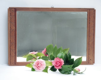 Antique Art Deco French Wood mirror, 1930 ,  for brown hand carved wooden wall mirror