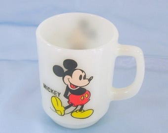 ON SALE Vintage Anchor Hocking Mickey Mouse Coffee Mug Cup from Pepsi