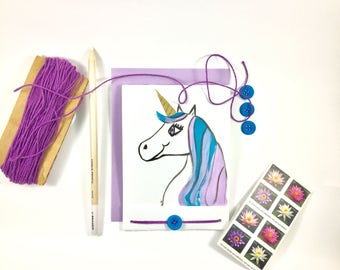 Hand Painted - Unicorn Greeting Card - Blank Card -Hand Drawn