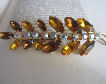 Vintage Topaz Amber Clear Rhinestone Leaf Brooch Pin