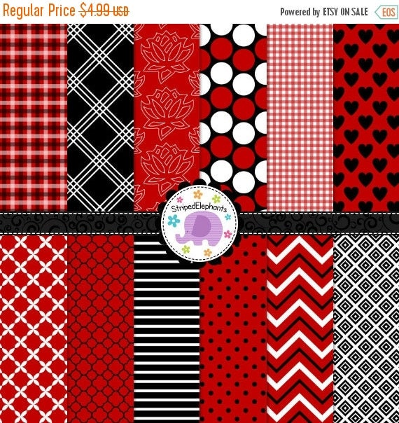 40% OFF SALE Red White and Black Digital Paper Pack, digital scrapbook paper, digital background, Instant Download - Commercial Use