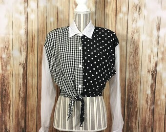 VTG Womens MIRRORS Front Tie Cropped Collared Button Down Long Sleeve Top Lace