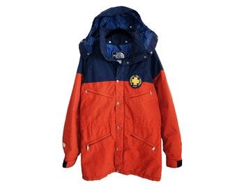 Vintage The North Face Official National Ski Patrol Blue & Dark Orange Gore-Tex Winter Parka, Made in USA - Medium
