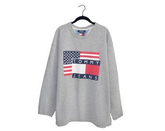 Vintage Tommy Hilfiger Dark Heather Gray American Flag / Tommy Jeans Poly-Cotton Blend Oversize Sweatshirt, Made in USA - XL