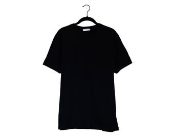 Vintage Versace Collection All Black Embroidered Half Face 100% Cotton Crewneck T-Shirt - XL
