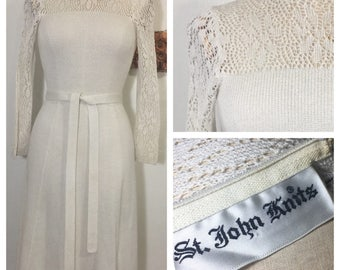 St John Knits Vintage Crochet Boho 70s Hippie Wedding Bridal Gown Shower Dress