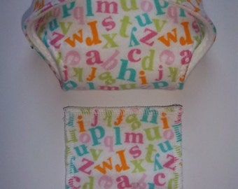 Baby Doll Diaper/wipe - colorful alphabet  - adjustable for many dolls such as bitty baby
