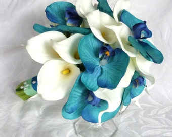 Aqua orchid and white calla lily bridal bouquet and boutonniere set
