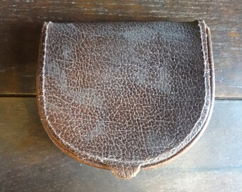 Vintage English Leather Brown Folding Coin Purse Wallet circa 1970's / English Shop