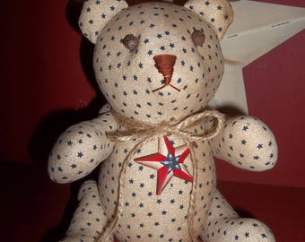 Sweet Primitive Handmade Americana Bear - Patriotic/Fourth of July Decoration