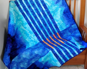 Geometric Art Quilt - Blue Aqua Orange Fabric Wall Hanging - Modern Urban Lap Quilt - Quilted Sofa Throw - Dorm Quilt - Fiber Art - Handmade