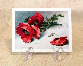 Flower Magnet - Red Poppies Fridge Magnet - Repro Catherine Klein Vintage Style