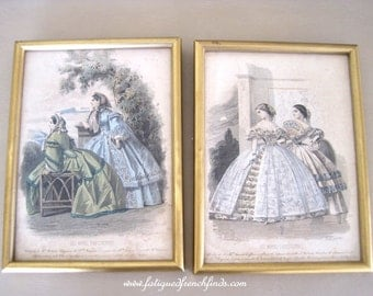 Les Modes Parisiennes Fashion Plate Prints Framed C1850's 805 & 807 Hand Coloured  Original Antique French