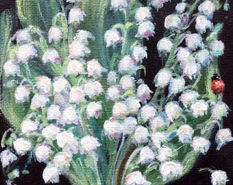 Lily of the Valley # 6 painting still life original floral painting 7 x 5""