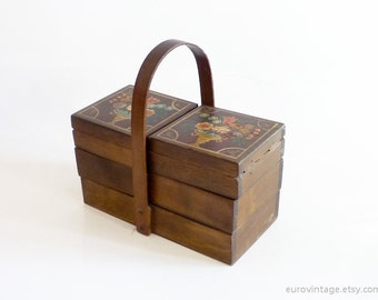 Vintage Small Sewing Box / Wooden Sewing Box / Wooden Storage Box