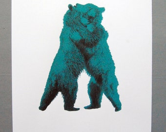 Bear Hug - Taupe / Pink - original limited edition screen print