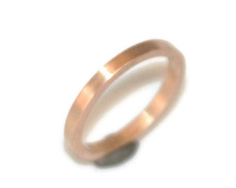 Square Ring or Wedding Band in 18k Rose Gold