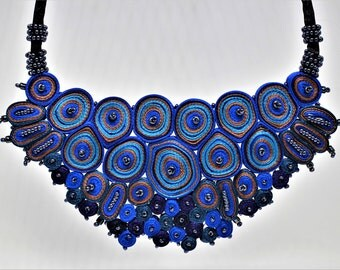Statement necklace blue, extravagant necklace, bib necklace, gift for woman, gift for her, textile art - Textile jewelry OOAK for order