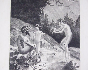 Antique French print Pan God Pagan Wiccan  Wicca Woodland nature Nymph Faun pipes mythology