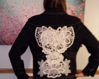 White Skull with White Floral Altered Couture Jean Jacket Boho Rocker Sz M - L