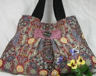 Quilted Fabric Tote Bag - Australian Aboriginal Motif - Large