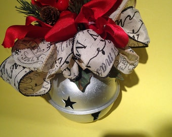 Bell-Silver Christmas Bell-Bell Ornament-Sleigh Bell-Holiday Bell