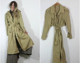 Vintage Banana Republic Nylon Trench Coat Long Jacket 80s