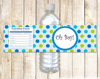 Oh Boy Bottle Labels Oh Boy Baby Shower Baby Boy Shower Boy Party Favor Bottle Wrappers Blue Green Oh Boy Stickers INSTANT DOWNOLAD
