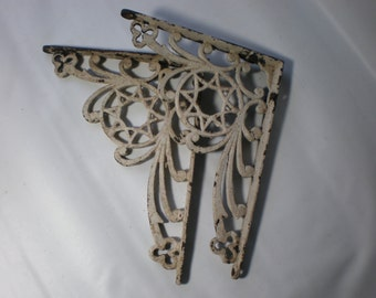 Two Vintage Detailed Old Brackets Shabby Chic Painted White