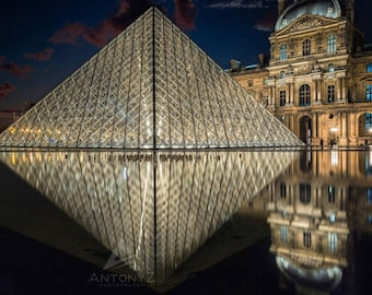 Louvre Museum Paris Reflections  - 8x10 Fine Art, Print Paris Decor, Paris Print, Travel Photo Louvre Decor Print