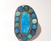 SPRING SALE Hemimorphite and Ethiopian opal sterling silver ooak ring