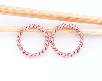 2 of 925 Sterling Silver Rose Gold Vermeil Style Twisted Circle Links, Connectors 15 mm.   :pg0398