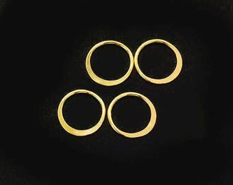 4 of 925 Sterling Silver 24k Gold Vermeil Style Circle Links, Connectors 10 mm. Polish Finished  :vm0968