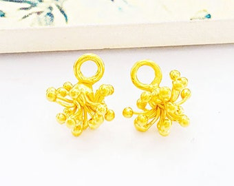 2 of Karen hill tribe 24k Gold Vermeil Style Flower Charms 8x12 mm. :vm0983