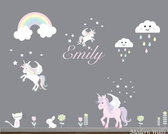 Vinyl Wall Decals-Reusable Wall Decals, Wall Stickers-Unicorn Wall Decals, Rainbow Wall Decal, Cloud Wall Art-Unicorn wall decor-baby decor