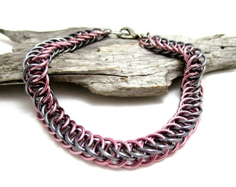Half Persian 4:1 Chainmaille Bracelet - Black Ice and Pink