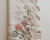 Vintage Embroidered small tablecloth, teatime tablecloth, picnic table cloth, grannychic decor, vintage kitchen decor