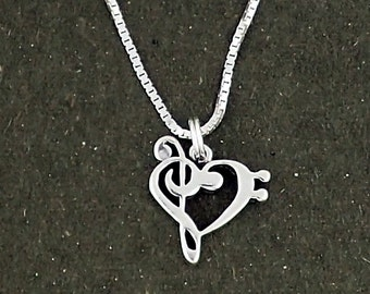Sterling Silver Music Note Heart Bass and Treble Clef Pendant Necklace
