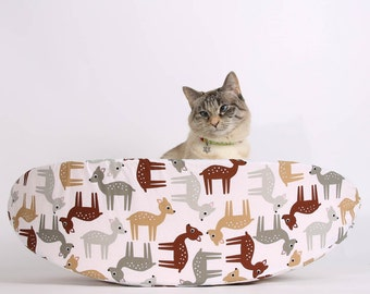 Modern Cat Bed made in Cute Deer Fabric - kitty furniture made in USA - the Cat Canoe