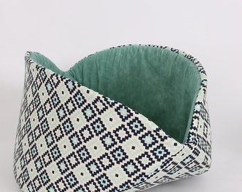 Cat Bed for Big Kitties - The Jumbo Cat Canoe in Navy Geometric Cotton Fabric
