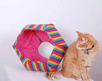 Cat Ball kitty bed made in cotton rainbow fabric - a fun cave for your pet