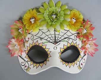 Deluxe Day of the Dead Flower Crown Spiderweb Pink, Green, and Yellow Leather Masquerade Mask, OOAK