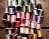 Vintage Spools of Embroidery and Sewing Thread on Wood Spools - Rainbow Collection