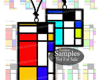 Mondrian Squares Oblongs Clipart for DIY Jewelry Pendants Earrings Modern Art Geometric Decoupage Digital Printable Download Tile Slides 824