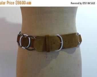 ON SALE Vintage Italian designer Caractère tan suede and chrome ring wide boho belt Sz M