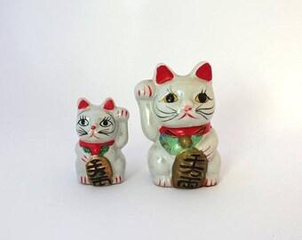 ON SALE Vintage Japanese Maneki-neko pearly white lucky cat ceramic figurine piggy bank, beckoning cats