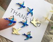 4pcs Flying Blue Swallow Charm-Bird Charm