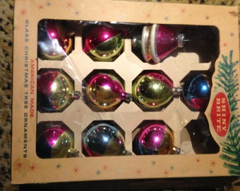Vintage Shiny Brite Ornaments, Box of 10 Glass Ornaments, Made in the USA, 1950's Christmas, Vintage Christmas Ornaments, MCM Holiday