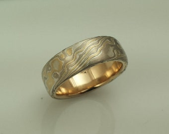 Artisan crafted wood grain wedding band etched mokume gane 14k palladium white gold 18y yellow gold and sterling