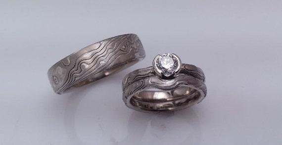Matching Three Ring wood Wedding Set wood grain mokume gane